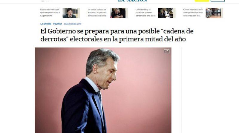 """La Nación: el macrismo avizora """"cadena de derrotas"""" electorales"""